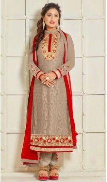 Tan Brown Color Georgette Straight Cut Style Pakistani Formal Dresses #casual, #salwar, #kameez, #online, #trendy, #shopping, #latest, #collections, #summer,#shalwar, #hot, #season, #suits, #cheap, #indian, #womens, #dress, #design, #fashion, #boutique, #heenastyle, #clothing, #cotton, #printed, #materials, @heenastyle