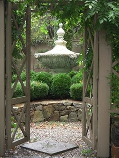 Lush boxwood garden outside Gary Sargent's shop in Woodstock, CT - photo by Michael Carter