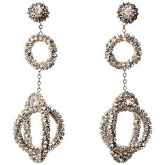 Preowned Miriam Haskell Long Diamante Gyroscope Hoop Earrings ($1,595) ❤ liked on Polyvore featuring jewelry, earrings, brown, hoop earrings, filigree jewelry, long earrings, miriam haskell jewelry, clip on hoop earrings and miriam haskell earrings