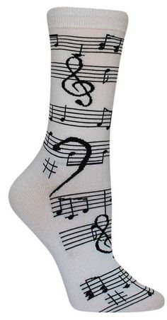 For the music lover in your life. White crew length socks with black music notes with staffs in a striped pattern. Fits women's shoe size 5-10.