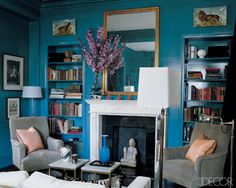 A Turquoise Lacquer Living Room.