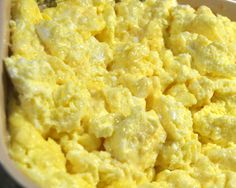 Oven Scrambled Eggs - A great way to make up a large batch.  Ingredients: Butter, Eggs, Milk, Salt.