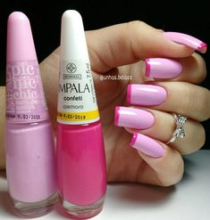 50 Awesome French Tip Nails to Bring Another Dimension to Your Manicure - 50 Aw. - 50 Awesome French Tip Nails to Bring Another Dimension to Your Manicure – 50 Awesome French Tip - French Tip Nail Art, French Tip Nail Designs, French Manicure Nails, Manicure And Pedicure, Diy Nails, Pink Tip Nails, French Art, Latest Nail Designs, Diy Nail Designs