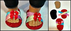 To Make American Girl Doll Shoes / Sandals (No Sewing Required)! How To Make American Girl Doll Shoes / Sandals (No Sewing Required)! - Thrifty NW MomHow To Make American Girl Doll Shoes / Sandals (No Sewing Required)! American Girl Outfits, American Girl Doll Shoes, American Girl Accessories, American Girl Crafts, American Doll Clothes, American Girls, Doll Accessories, Sewing Doll Clothes, Girl Doll Clothes