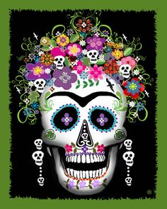 Dia de los muertos sugar skull (Calavera) Use for MOUTH template Mexican Skulls, Mexican Folk Art, Sugar Skull Art, Sugar Skulls, Frida Art, Mexican Holiday, Art Populaire, Tattoo Zeichnungen, Estilo Rock