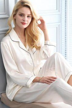 Women's Silk Pajama Set - Suit Fashion Pyjamas, Silk Pajamas, Cute Pajama Sets, Cute Pajamas, Silk Nightgown, Designer Lingerie, Collar Dress, Lace Sleeves, Satin Dresses