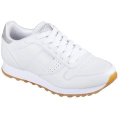 Skechers Women's Og 85 - Old School Cool White - Skechers (225 PEN) ❤ liked on Polyvore featuring shoes, white, laced up shoes, skechers shoes, skechers, white colour shoes and skechers footwear