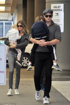 Family first! Gisele Bundchen looked right at home as she spent a low-key day in New York on Sunday with her husband Tom Brady and their two children, Vivian Lake, three, and Benjamin, six