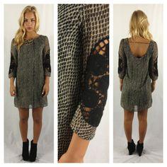 Black Geometric Print Chiffon Shift Dress