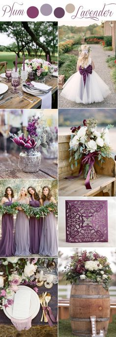 Plum, lavender and lilac colors of the purple romantic rustic wedding . Purple romantic rustic wedding color ideas plum, lavender and lilac colors Rustic Wedding Colors, Fall Wedding Colors, Plum Wedding Decor, Rustic Theme, Wedding Ideas Purple, Rustic Decor, Diy Wedding, Wedding Reception, Lavender Wedding Decorations