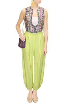 Mint georgette drawstring pants available only at Pernia's Pop Up Shop.