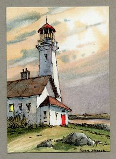 Lighthouse ACEO 2 5 x3 5 Original Watercolor Peter Sheeler sunset color cliff