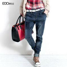 Free shipping Plus size dark color loose casual harem pants jeans female harem pants Appear thin cotton $23.80