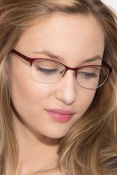 Glasses For Oval Faces, Red Frame Glasses, Womens Glasses Frames, Fake Glasses, Eyeglasses Frames For Women, New Glasses, Women In Glasses, Glasses Online, Round Lens Sunglasses