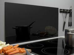 Stænkplade firkantet sort hærdet glas 800x400mm