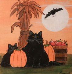 Cat-Halloween-Black-Cats-Bat-pumpkins-canvas-magnet-acrylic-by-Pryjmak