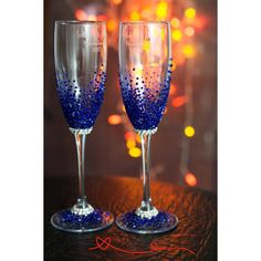 Royal Blue Wedding Glasses, Royal Blue Personalized Wedding Set... ($54) ❤ liked on Polyvore featuring home, kitchen & dining, drinkware, engraved champagne glasses, wedding flute set, personalized drinkware, wedding champagne glass and wedding champagne flutes