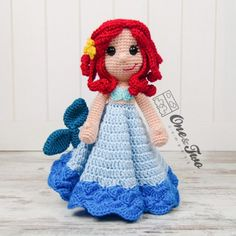 Marina the Mermaid Security Blanket Crochet Pattern by One and two Company
