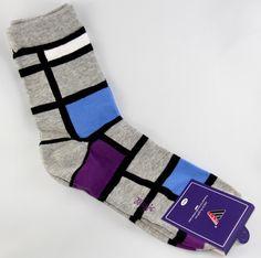 """Checkered Blocks"" Men's Socks by MAGIC | Colors: Grey, Black, Blue, Purple | Size: L-XL (10-12) | Composition: 100% Cotton | SOURCE: http://www.bluesquareclothing.com/collections/magic-socks/products/checkered-socks-grey-blue-purple-blocks"