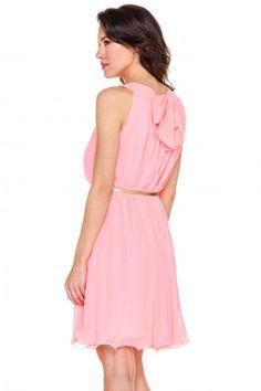 Szyfonowa sukienka w kolorze różowym - L'ame de Femme - L'ame de Femme - Odzież damska Balladine.com - Polska Moda Online