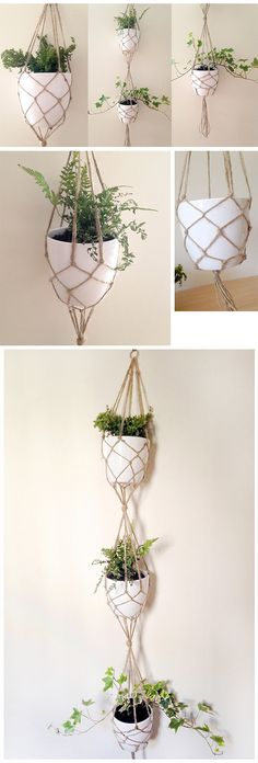 DIY VERTICAL PLANT HANGER TUTORIAL. I really love macramé plant hangers - they're a great way to add some green to the home and are perfect for growing herbs or even your own edible flowers... #VerticalGardening #PlantHanger #DIY