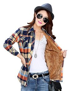 Welity Women's Vintage Thicken Fleece Quality Winter Plaids Shirt Blouse Tan