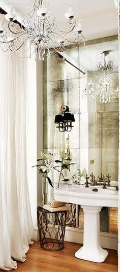pedestal sink in powder room, pedestal sink in bathroom, antique mirror in bathroom