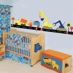 Items similar to Vinyl Wall Decal Boys Construction Vehicle Set Vinyl Wall Decal Stickers on Etsy Baby Boy Rooms, Baby Boy Nurseries, Baby Room, Digger Bedroom, Construction Bedroom, Construction Theme, B 17, Truck Room, Kids Bedroom