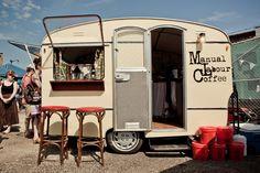 Manual Labour Coffee, Toronto. Great caravan conversion. Nice branding, stools & drip bar.