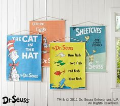 I love the Dr. Seuss™ Book Cover Canvas Art on potterybarnkids.com  upstairs playroom