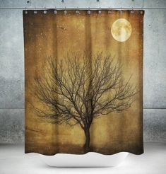 Shower Curtain Rustic Primitive Grunge Tree and Moon   Measures: 71 in x 74 in (180 x 188 cm)  12 button-hole top for simple hanging. Easy care material allows for machine wash and dry maintenance. 100% polyester.  Curtain rod, hooks and shower curtain liner are not included.  These tightly woven 100% polyester fabric shower curtains are water-resistant for an effective barrier in the bath or shower and are designed to hang outside of the bath or shower area…