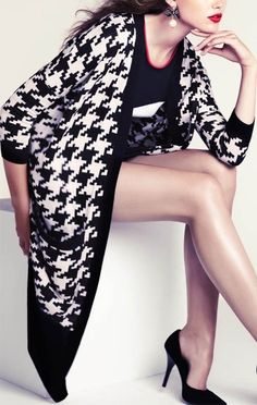 black and white exploded houndstooth sweater...cardi jacket