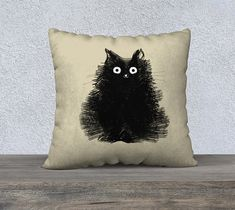 Cat Pillow Black Cat Pillowcase Cover Decorative by TheLonelyPixel