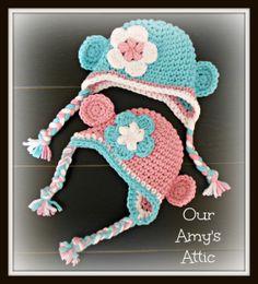 Chunky Monkey Beanie Baby Monkey Beanie Crochet by OurAmysAttic,  Ready to ship today.  $15.00