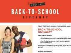 J.Crew Factory BACK-TO-SCHOOL Sweepstakes