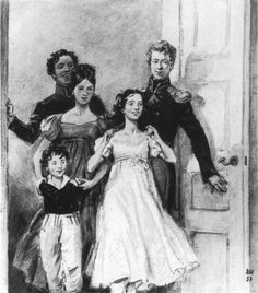 """Шмаринов Д.А. –  Иллюстрация к роману Л.Н.Толстого """"Война и мир"""". 1953-55. «... и в комнату вбежала  тринадцатилетняя девочка, запахнув что-то короткою кисейною юбкою, и остановилась посредине комнаты. Очевидно было, она нечаянно,с нерассчитанного бега, заскочила так далеко. В дверях в ту же минуту показались студент с малиновым воротником, гвардейский офицер, пятнадцатилетняя девочка и толстый румяный мальчик в детской курточке»"""