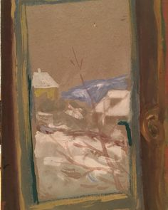 view from the window to the hills.in from 1955 Budapest, Windows, Painting, Art, Idea Paint, Art Background, Painting Art, Kunst, Paintings