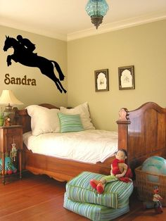 This personalized jumping horse measures 28 X 24 inches, with the name in 6 inch letters. You can choose the color of the horse, color and font