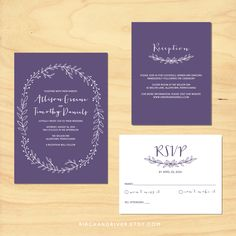 Printable Wedding Invitation RSVP and Enclosure by birchandriver