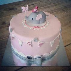 Fondant elephant baby cake, birth or first birthday girl