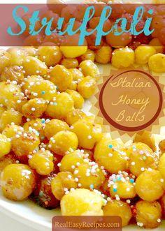 Authentic Easy Italian Honey Balls (Struffoli) Recipe - So festive! www.realeasyrecipes.com
