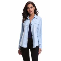 MISS MOLY Women's Long Rolled Sleeves Washed Denim Shirt with Western Pockets Light Blue XL
