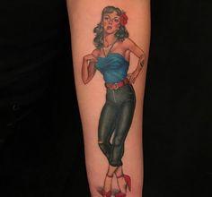 Pinup tattoo by Christina Ramos at Memoir Tattoo