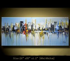 Original Abstract Painting, Modern Textured Painting, Palette Knife cityscape…