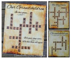 DESCRIPTION ----------------------------------  Inspired by the game of scrabble, this one-of-a-kind wall art celebrates Grandchildren and/or families!  Makes a wonderful Mothers Day, Fathers Day, Grandparents Day, Christmas*, birthday gift!  Each piece is personalized containing the names of all of your Grandchildren or family criss-crossing in a scrabble board pattern. the letter tiles have a wooden background & letters show the true value of a scrabble letter game…