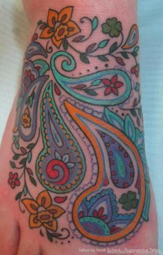 Love this. I have a tat on my foot I want to cover up. I am thinking a paisley print would be unique.