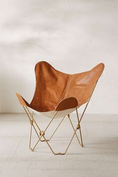 Leather Butterfly Chair + Gold Metal Frame