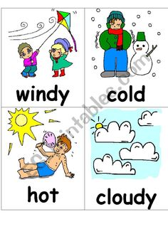 flasch cards for presenting weather words and put on the wall. Weather Vocabulary, Weather Words, Vocabulary Worksheets, Esl, Teaching Ideas, Art Ideas, Cards, Korean, English