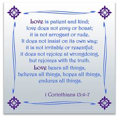 1 Corinthians 13:4-7 bible verse print wall art, bible verse word art for all areas of the home in 12 colors and patterns. Makes a great gift! ABOUT THIS PRINT PRODUCT - professional grade - luster fi