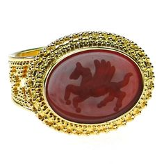 Damaskos Carved Agate Pegasus Intaglio Ring, 18k Gold and a carved Agate. This and more handmade Greek jewelry at Athena's Treasures: www.athenas-treasures.com